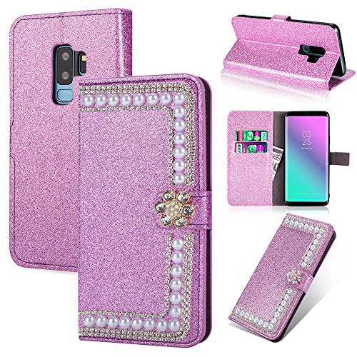 Gaxaly s9 Plus Case Glitter Kickstand Compatible with Samsung 9plus Cover Diamond 9splus Luxury Girls Samsum Glaxay s9plus Protective Skin Bling with Credit Card Holder ID Slot FILP Cases (Purple)