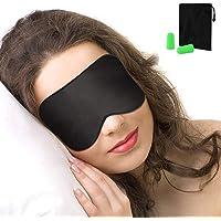 Schlafmaske, Nasharia Augenmaske Nachtmaske Verstellbarem Gummiband 100% Hautfreundlich Seide Geruchneutral Schlafbrille für komplette Dunkelheit - Schwarz