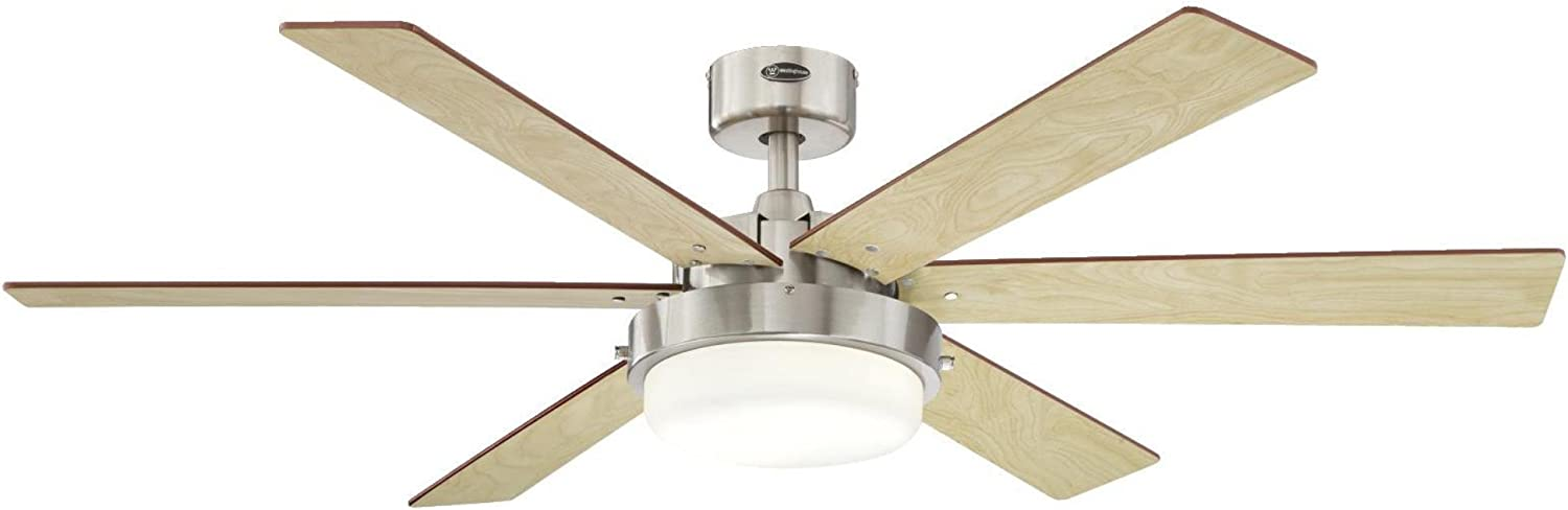 Westinghouse Lighting 7205100 Alloy II 52-inch Brushed Nickel Indoor Ceiling Fan, LED Light Kit with Opal Frosted Glass 61vsiRbkGiLSL1500_