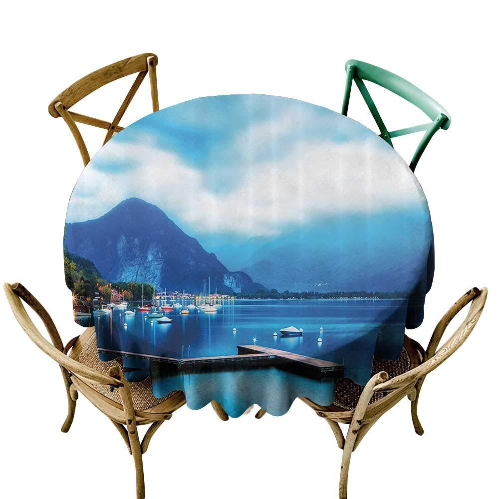 防水テーブルクロス 風景 家の装飾 夜明け アジアの海景 秋の木 水浴 テーマ パーティー装飾 テーブルカバー 布 ブルー イエロー 70