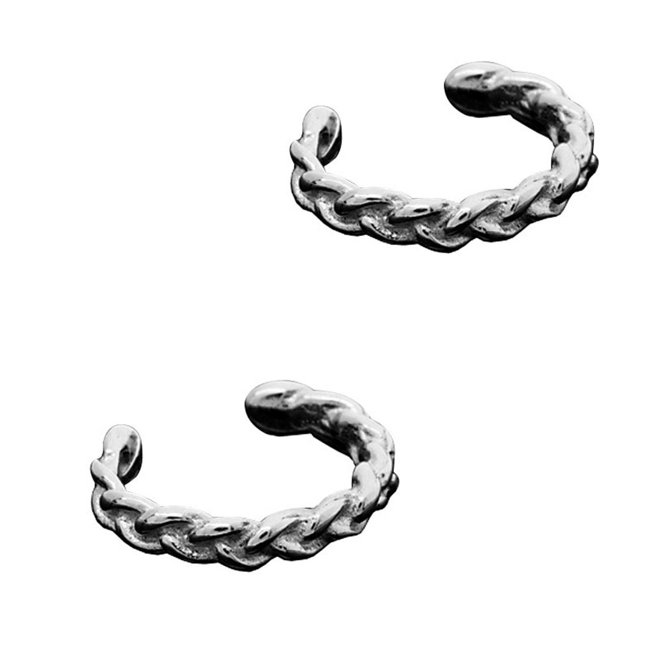 Sterling Silver Left Or Right Pair Of Pierceless Small Braided Band Outer Ear Cuffs