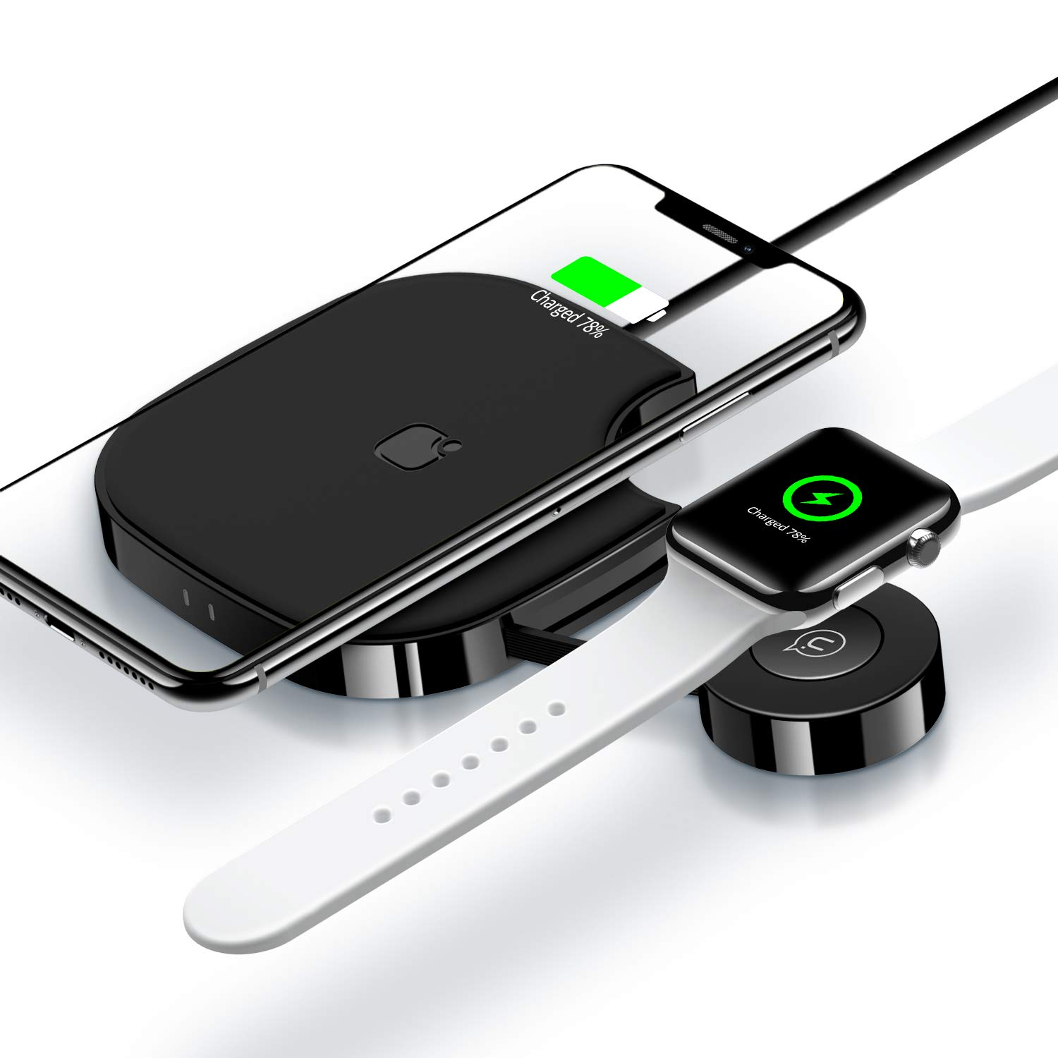 2 in 1 Wireless Charger for Apple Watch,Wireless Charger Pad Stand Qi Fast Wireless Charging Station for Apple Watch Series 4/3/2/1/Airpods 2/iPhone Xs Max/XR/X/8 Plus/8 Samsung Note 9/8 and More by YOUSAMS