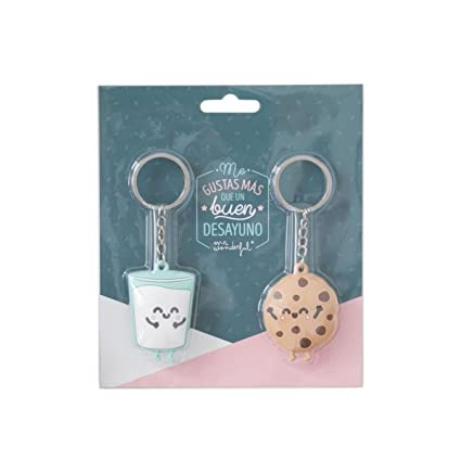 Mr. Wonderful Set de 2 llaveros Mr.Wonderful Galleta y Vaso parejasque Son ¡la Leche, Caucho, 5 X 5 X 1 Cm