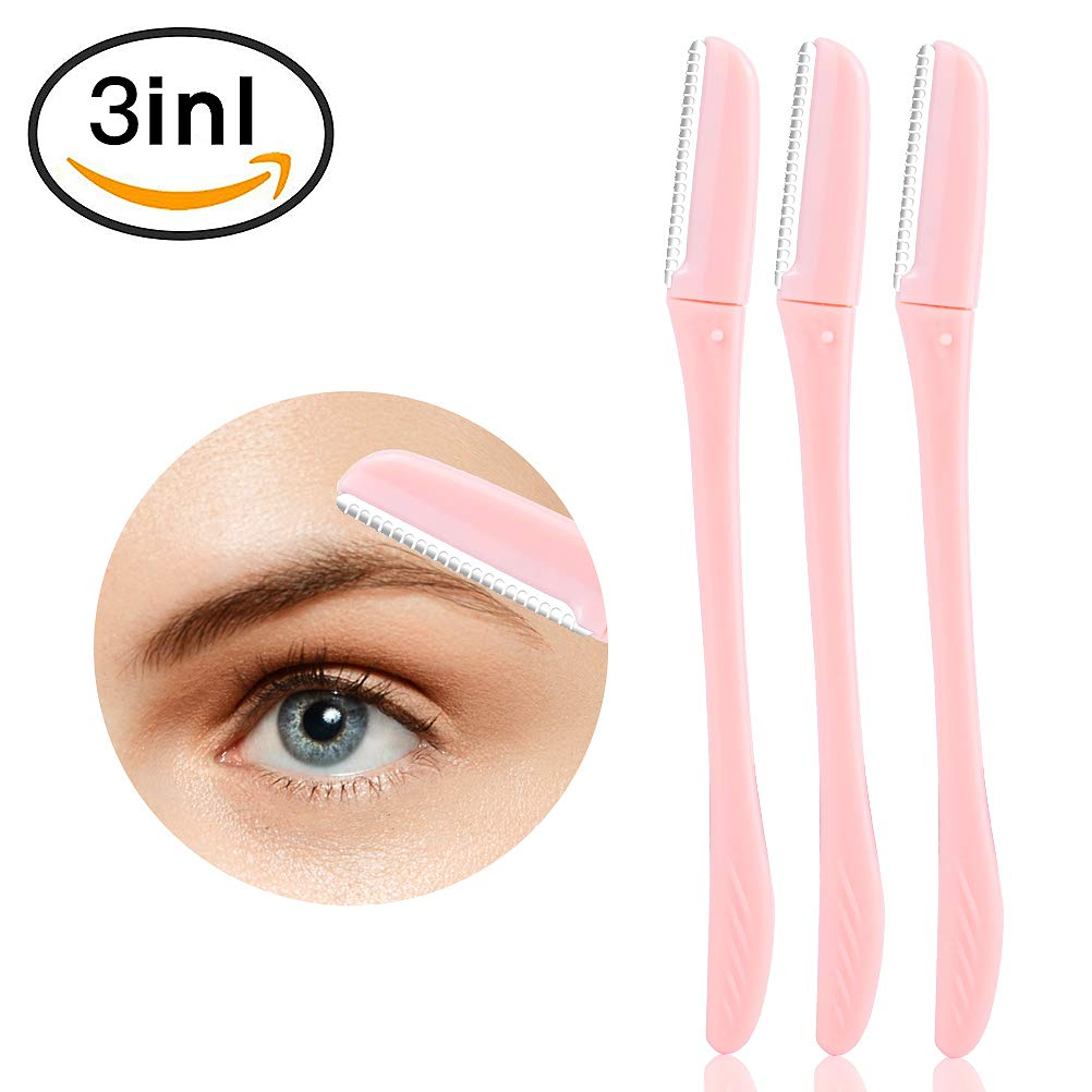 3 Pieces Eyebrow Shaper Razor Cheek Facial Razor Women Peach Fuzz Shaver Eyebrow Shaving Trimmer Shaving Grooming Kit MeilameiEUR