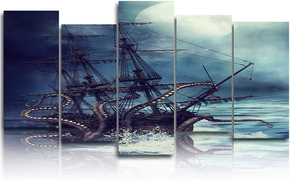 5 Panels Canvas Print Wall Art - Kraken Octopus Monster Pirate Ship - Wall Decor Pictures for Living Room Modern Artwork Stretched and Framed Ready to Hang (8x16x4pc+8x24in)