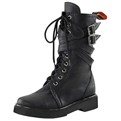 a8344bff4444 Summitfashions Womens Combat Boots Lace Up Shoes Buckle Straps Vegan  Leather 1 1 4 Inch