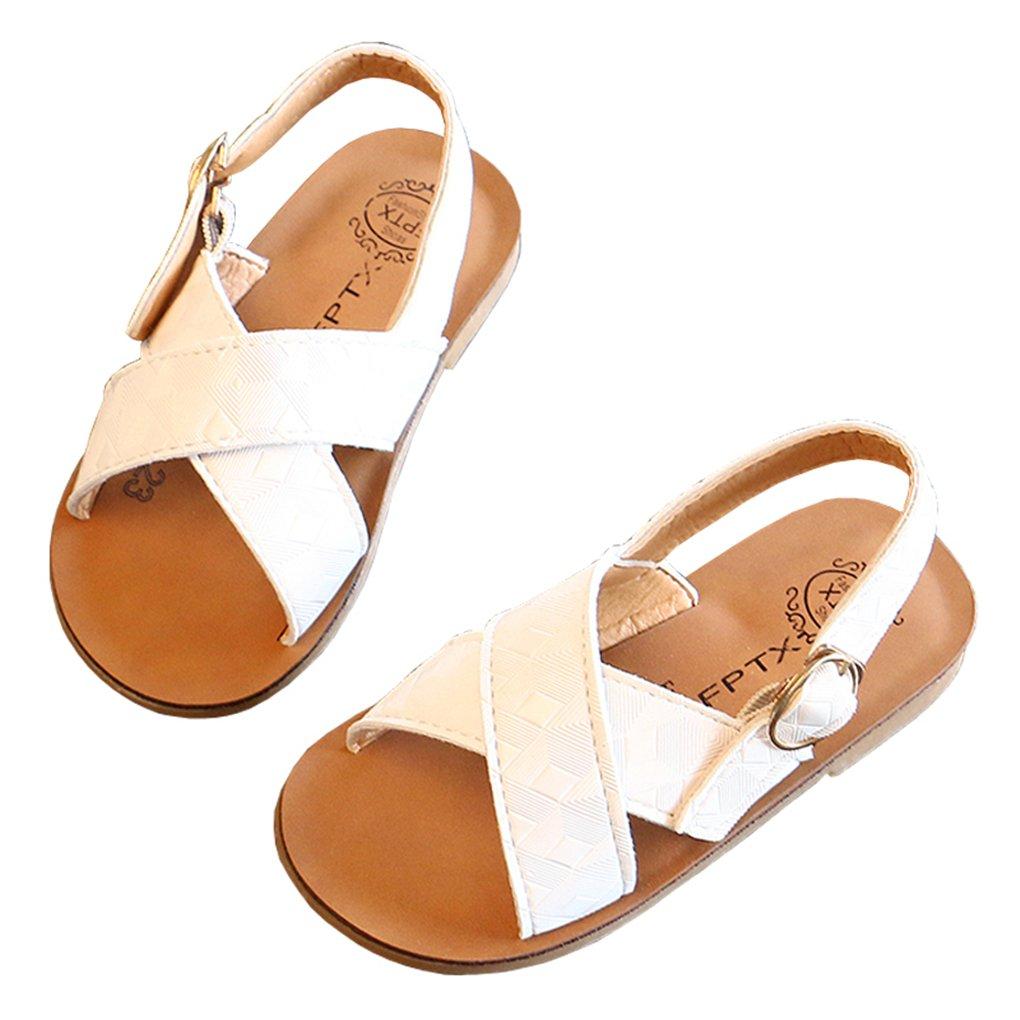 lakiolins Toddler Girl Cross Strap Slingback Flat Sandals Slip On Open Toe Slide Sandals White Size 21