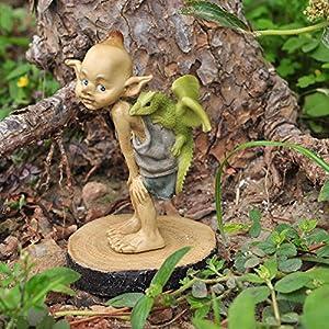 Top Collection Miniature Fairy Garden And Terrarium Statue Garden Pixie Elf With Baby Dragon