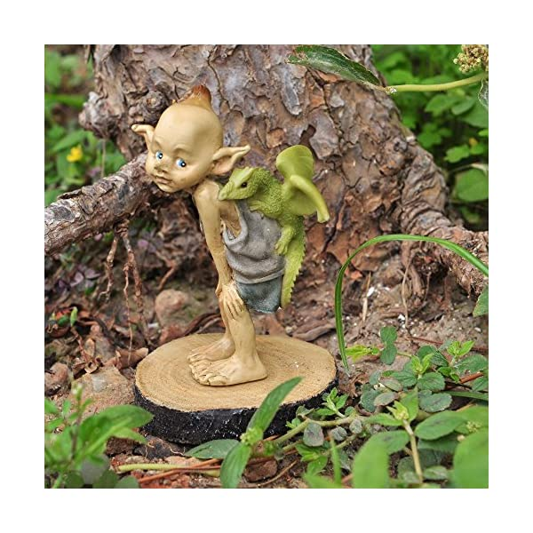 Top Collection Miniature Fairy Garden And Terrarium Statue Garden Pixie Elf With Baby Dragon