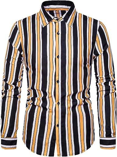 U/A Camisa de manga larga a rayas para hombre en otoño e invierno: Amazon.es: Ropa y accesorios