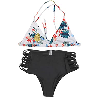 6558b63a4b BUYITNOW Women s Pineapple Print High-Waisted Bikini Set Swimsuit Beach Swimwear  Bathing Suit Black