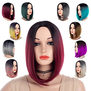 Best Short Bob Ombre Wig Natural Black And Brown for Women Colorful Cosplay Daily Party Anime