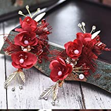 KHSKX-Retro Red Wine Red Chinese High-Grade Golden Bride Hair Comb Hair Headdress Cheongsam Show Wo Clothing Accessories