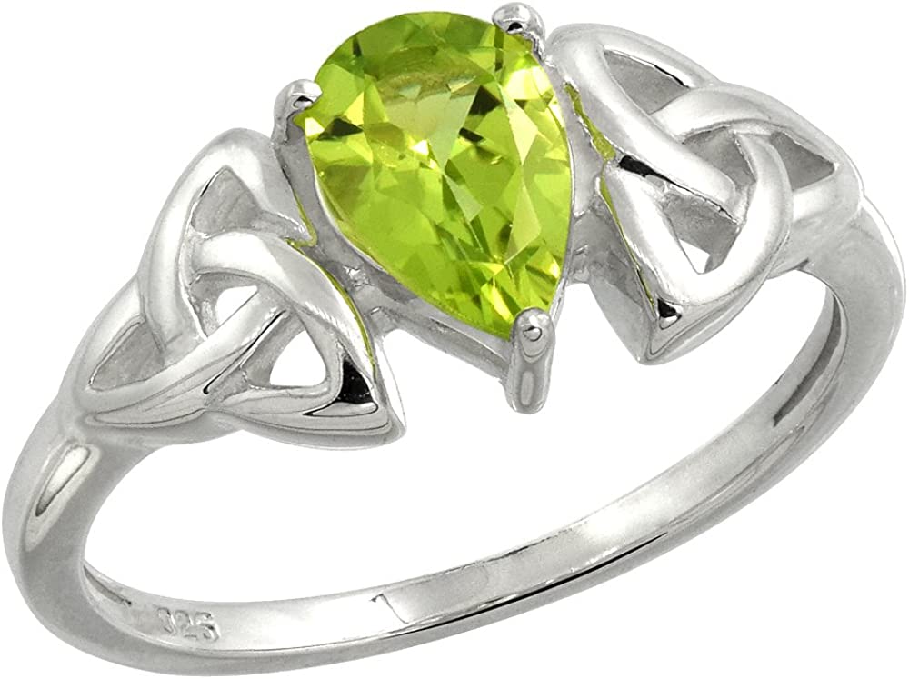 Sterling Silver Celtic Knot Trinity Ring with Natural Peridot 5/16 inch Wide, Sizes 6-10