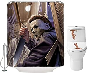 Halloween Shower Curtain Set for Bathroom- Scary Evil Killer Michael Myers, Horror Movie Themed Holiday Polyester Fabric Decoration with Hooks and Toilet Stickers, Christmas Party Decor 72x72