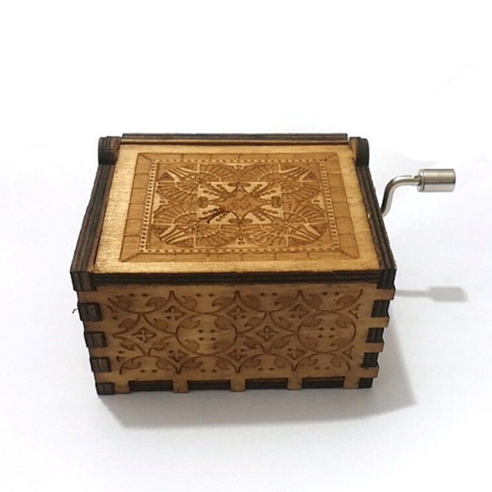 INSHO Music Box Handmade Engraved Wooden for Xmas Gift Valentines