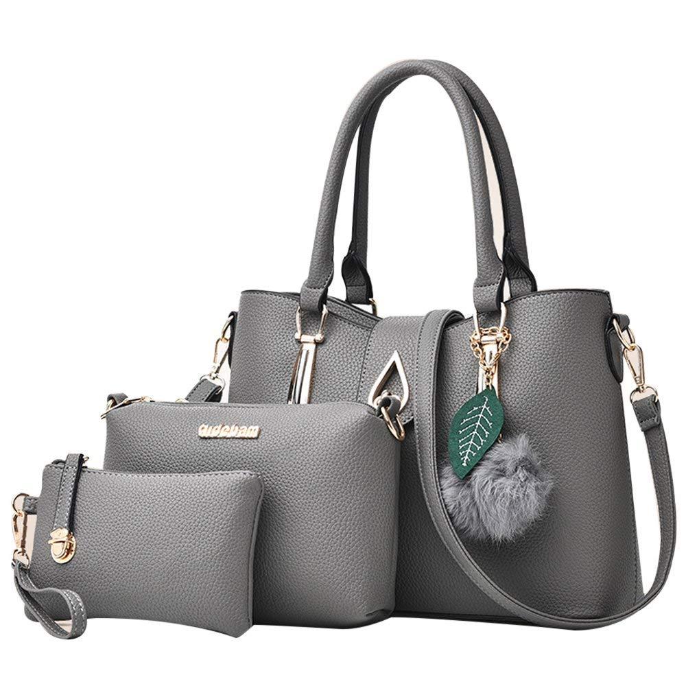Handbags for Women Leather Tote Bag Shoulder Bag Crossbody Bags Top Handle Satchel Hobo 3pcs Purse Set (One size, Grey)