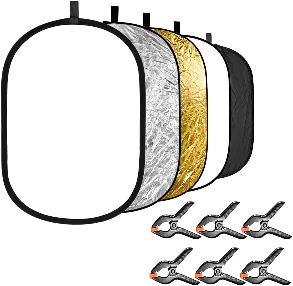 Neewer 5-in-1 Photography Light Reflector with 6-Pack Clamps Kit: Portable Oval 47x71 inches/120x180 centimeters Collapsible Reflector Disk(Translucent Silver Gold White Black) for Photo Studio