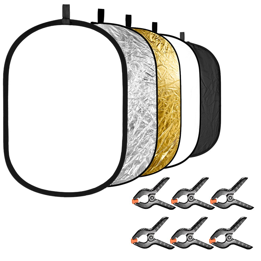 Neewer 5-in-1 Photography Light Reflector with 6-Pack Backdrop Clamps Kit: Portable Oval 24x35 inches/60x90 centimeters Collapsible Reflector Disk(Translucent Silver Gold White Black) for Photo Studio by Neewer