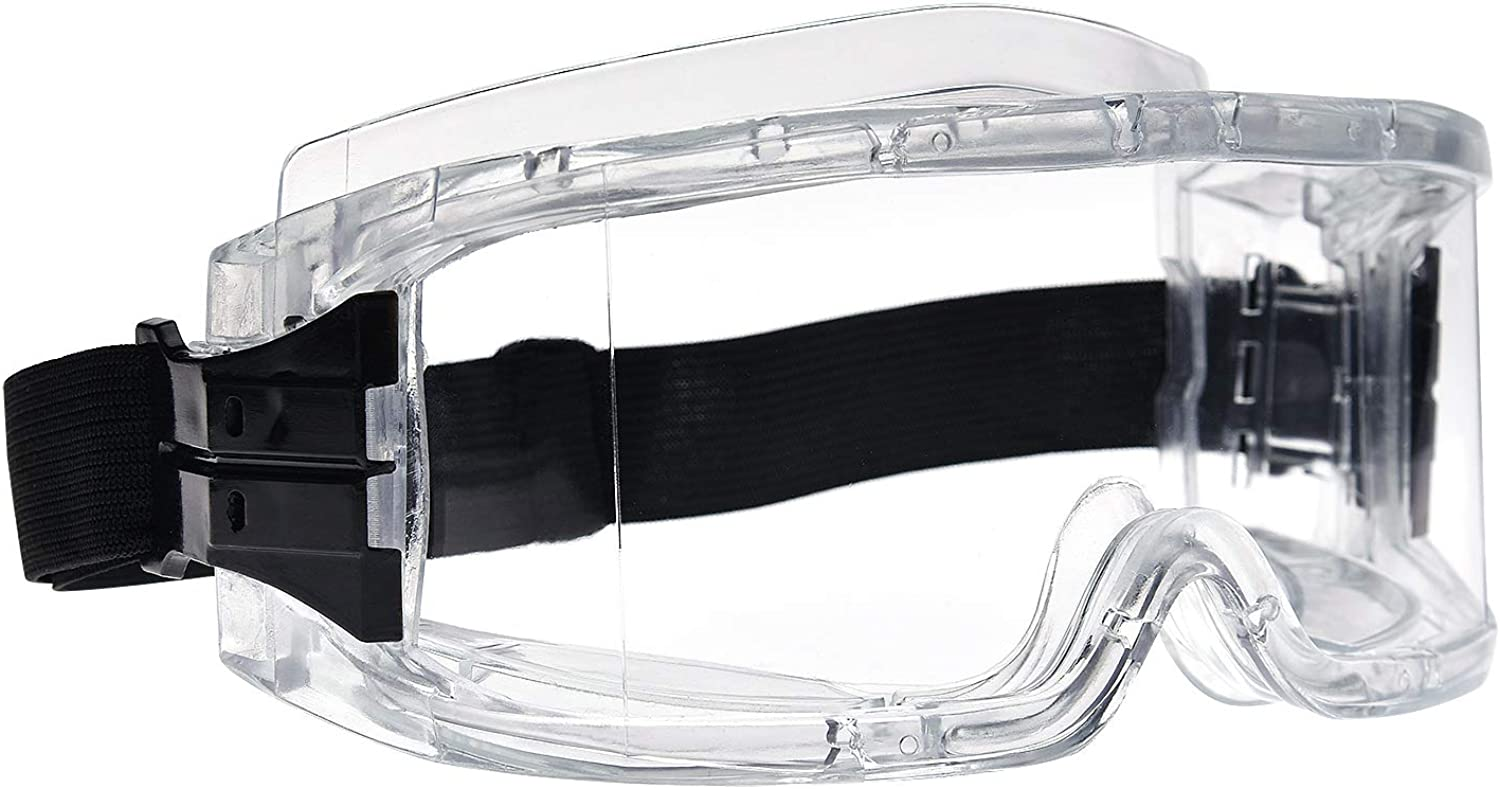 Safety Goggles with AntiFog Coating and Black Adjustable Strap for Eye Protection for Lab Home Classroom Workplace(Clear and Transparent)