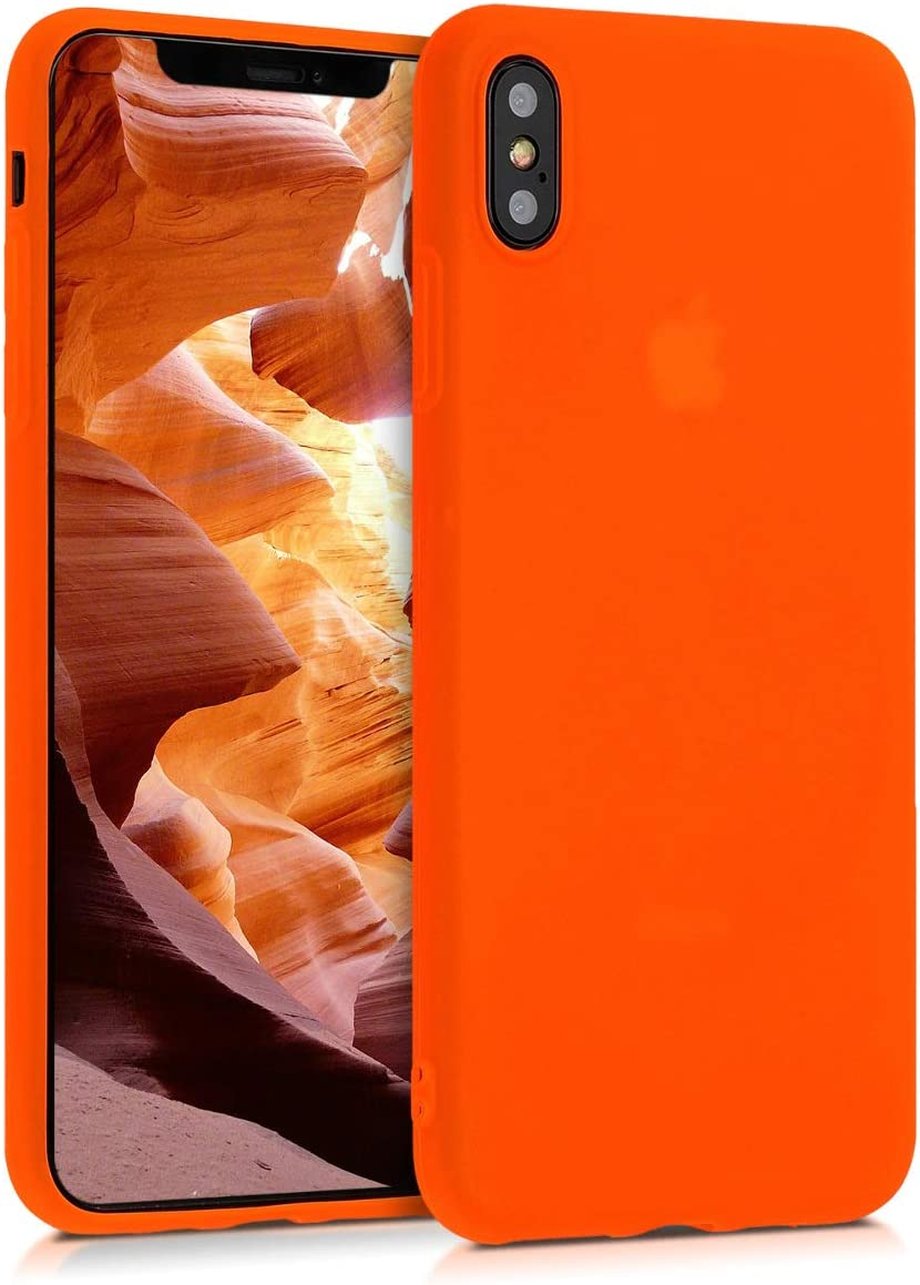 kwmobile TPU Case for Apple iPhone Xs Max - Soft Thin Slim Smooth Flexible Protective Phone Cover - Neon Orange