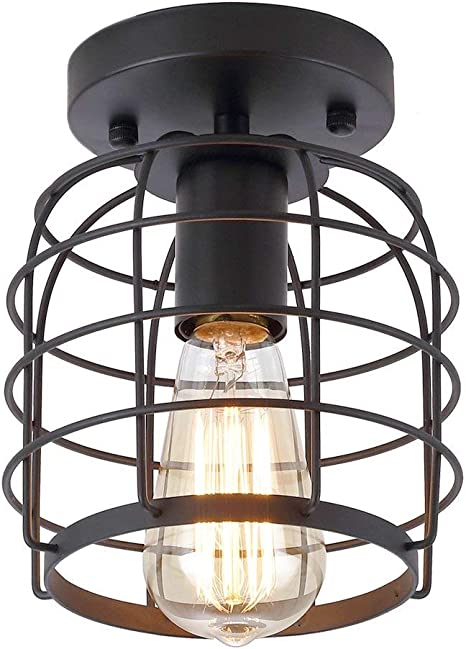 Create For Life Industrial Vintage Flush Mount Ceiling Light Rustic Metal Cage Pendant Lighting Lamp Fixture For Hallway Stairway Kitchen Garage E26 Black Painting Finish Amazon Com