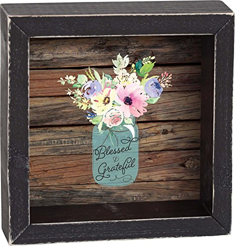 Blessed & Grateful Watercolor Floral Case on Faded Wood Look