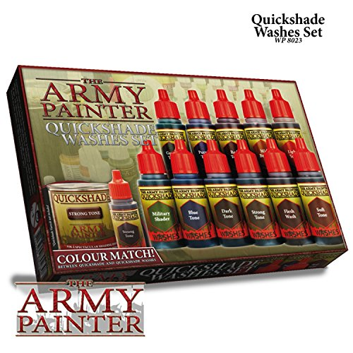 11 Nontoxic Miniature Paint Washes in Dropper Bottles - Rich Pigment Fluid Acrylic Paint Washes Miniature Painting Kit, Liquid Acrylic Paint Set - Warpaint Quickshade Wash Set by The Army Painter