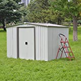 Outdoor Storage Shed Steel Patio Utility Tool House for Garden Yard Waterproof Garage w/Sliding Door