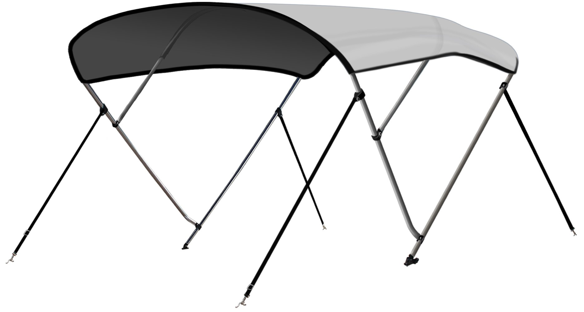 Leader Accessories 13 Colors 3 Bow Bimini Top Boat Cover 4 Straps for Front and Rear Includes Mounting Hardwares with 1 Inch Aluminum Frame (Light Grey, 6'L x 46'' H x 67''-72'' W) by Leader Accessories
