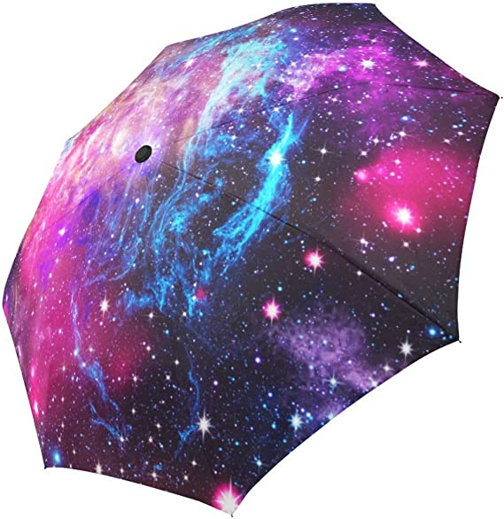 Space Universe Starry Galaxy Sky Star Compact Travel Umbrella Windproof Reinforced Canopy 8 Ribs Umbrella Auto Open And Close Button Customized
