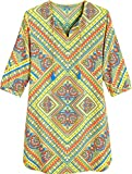 Coolibar UPF 50+ Women's Tunic Dress - Sun Protective (Small- Yellow Patchwork)