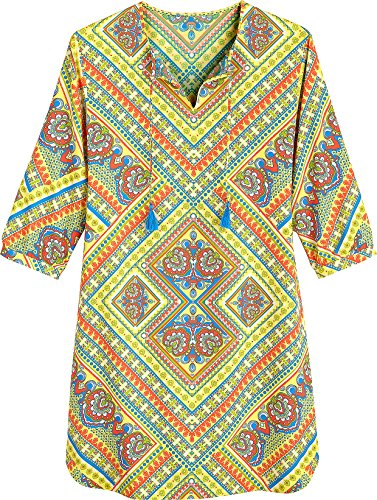 Coolibar UPF 50+ Women's Tunic Dress - Sun Protective (Small- Yellow Patchwork) by Coolibar