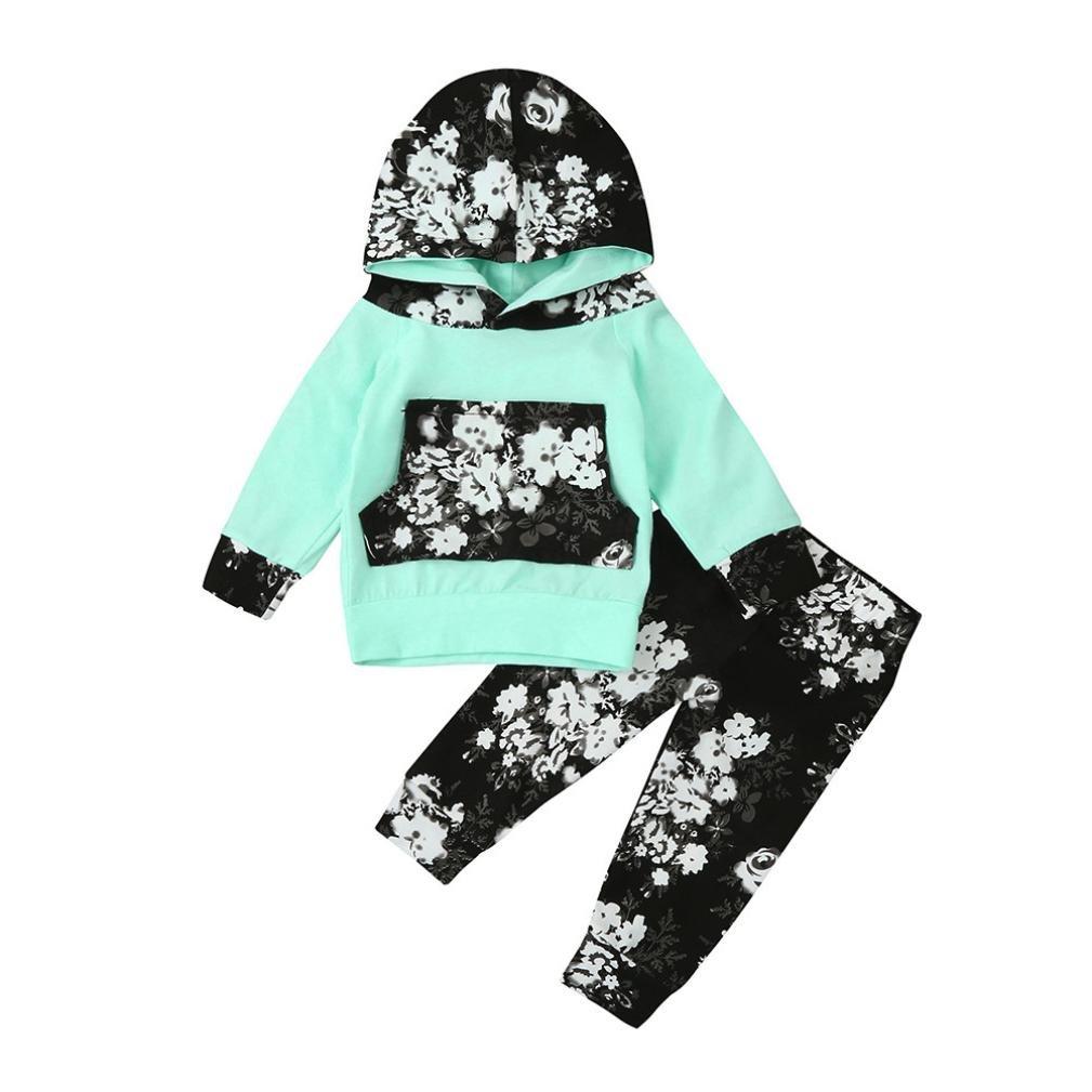 Jchen(TM) Newborn Infant Baby Girl Floral Long Sleeve Hoodie Tops+ Pants 2pcs Adorable Clothes Set for 0-24 Months (Age: 6-12 Months)