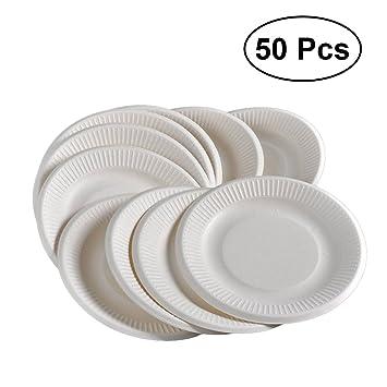 BESTONZON - 50 platos de papel desechables para fiestas, bodas: Amazon.es: Hogar