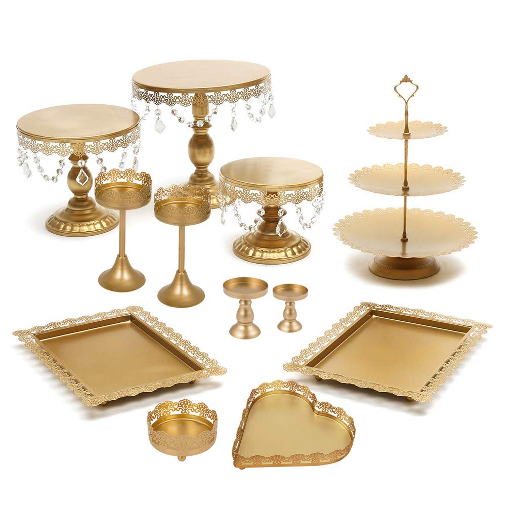 Lucky Monet 12Pcs Crystals Cake Stand Cupcake Tower Stand Wedding Plates Set Metal Round Party Dessert Display Décor with Crystals Beads (12pcs, Gold)