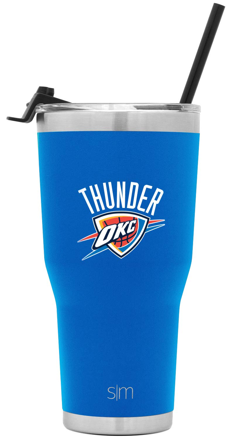 Simple Modern Oklahoma City Thunder 30oz Cruiser Tumbler with Straw - NBA - 18/8 Stainless Steel Vacuum Insulated Travel Mug by Simple Modern