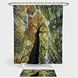 iPrint Tree Shower Curtain And Floor Mat Combination Set Ancient...
