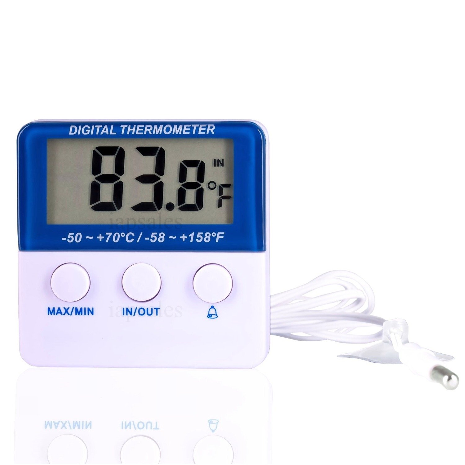 Digital Refrigerator & Freezer Thermometer with Audible Alarm. Highest Quality, Easy to Read, Mounts Outside Cooler & Monitors High & Low Temp. Settings for Min/Max/History