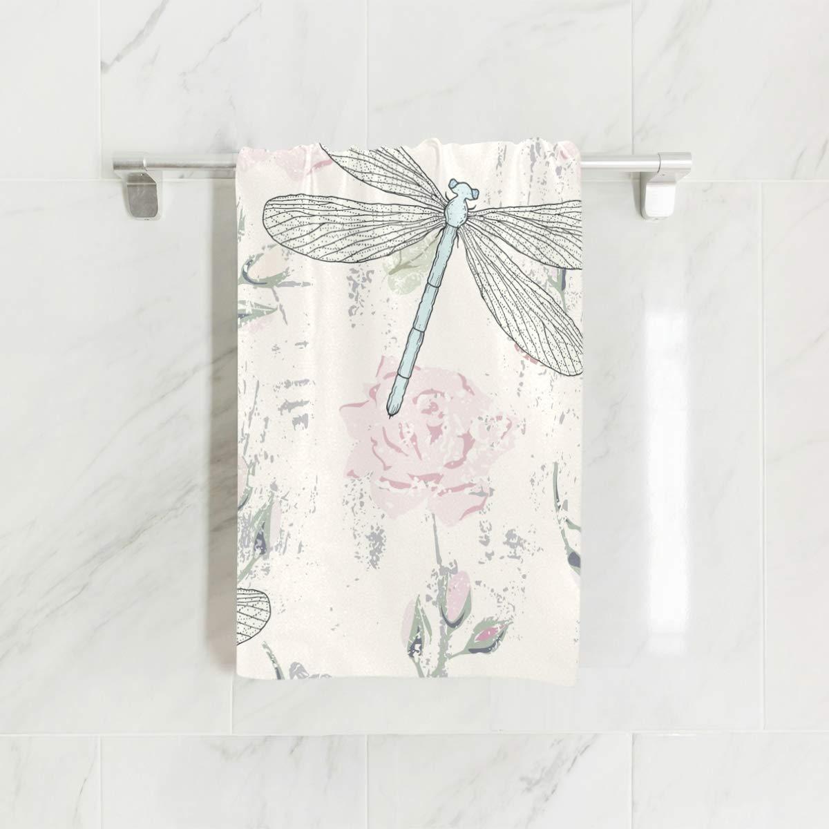 senya Grungy Floral Dragonflies Hand Towel Ultra Soft Luxury Towels for Bathroom 30x15