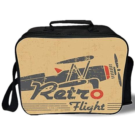 Amazon.com: Bolsa de almuerzo aislada, decoración de avión ...