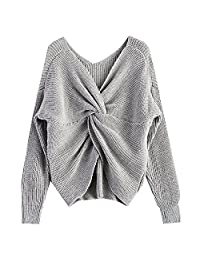 LifeShe V Neck Women Sweaters and Pullovers Twisted Back Jumpers