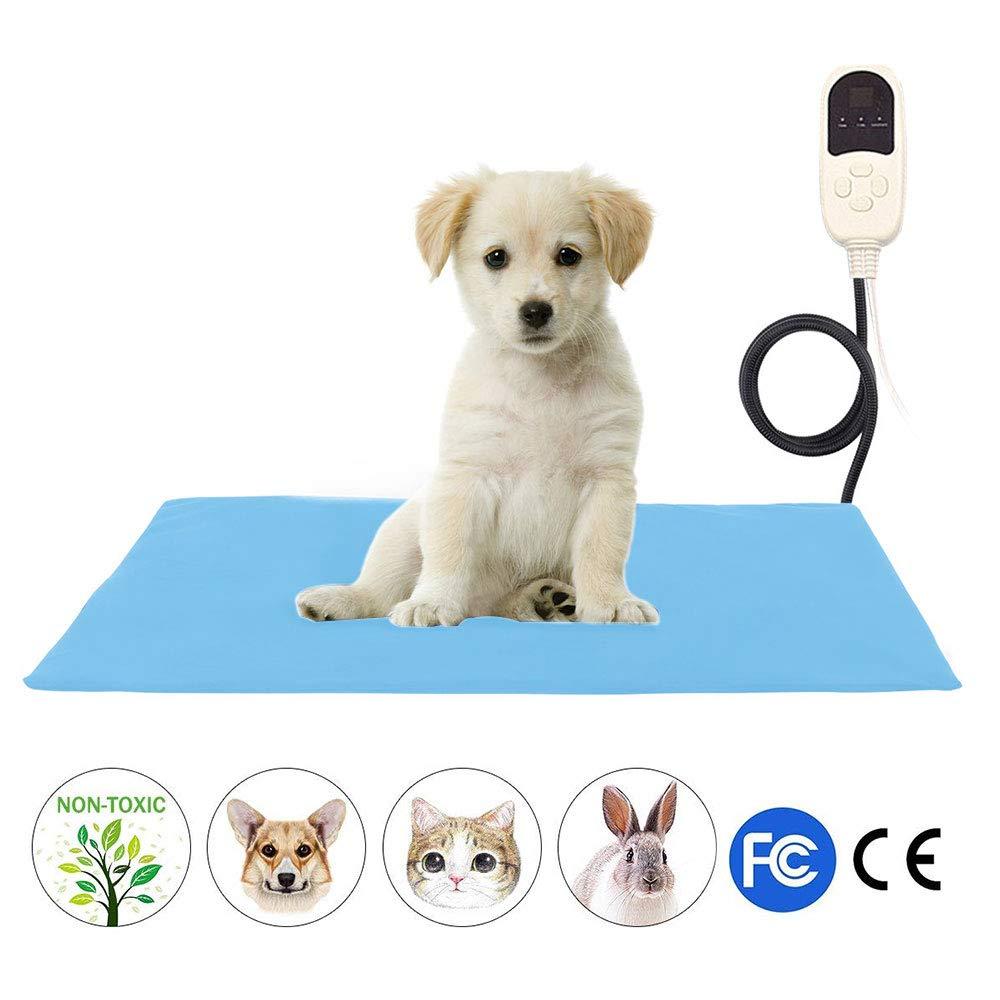 KOBWA Cuscino riscaldante per Animali Domestici, riscaldante per Domestici Regolabile per Animali Domestici con Cavo in Acciaio Resistente alla masticazione per Cani Gatti e rettili, 40x60cm