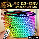 RGB LED Strip Light, IEKOVTM AC 110-120V Flexible/Waterproof/Multi Colors/Multi-Modes Function/Dimmable SMD5050 LED Rope Light with Remote for Home/Office/Building Decoration (164ft/50m)