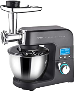 Aifeel Die-Cast Aluminum Kitchen Mixers - 8 in 1 Electric Stand Mixer - With 5.5 Litre Food Grade Bowl, Mixing Accessories, Food Grinder, and Blender- 8 Speed Settings with Pulse function - Matte Surface,LCD Display-- 1500W (Black)