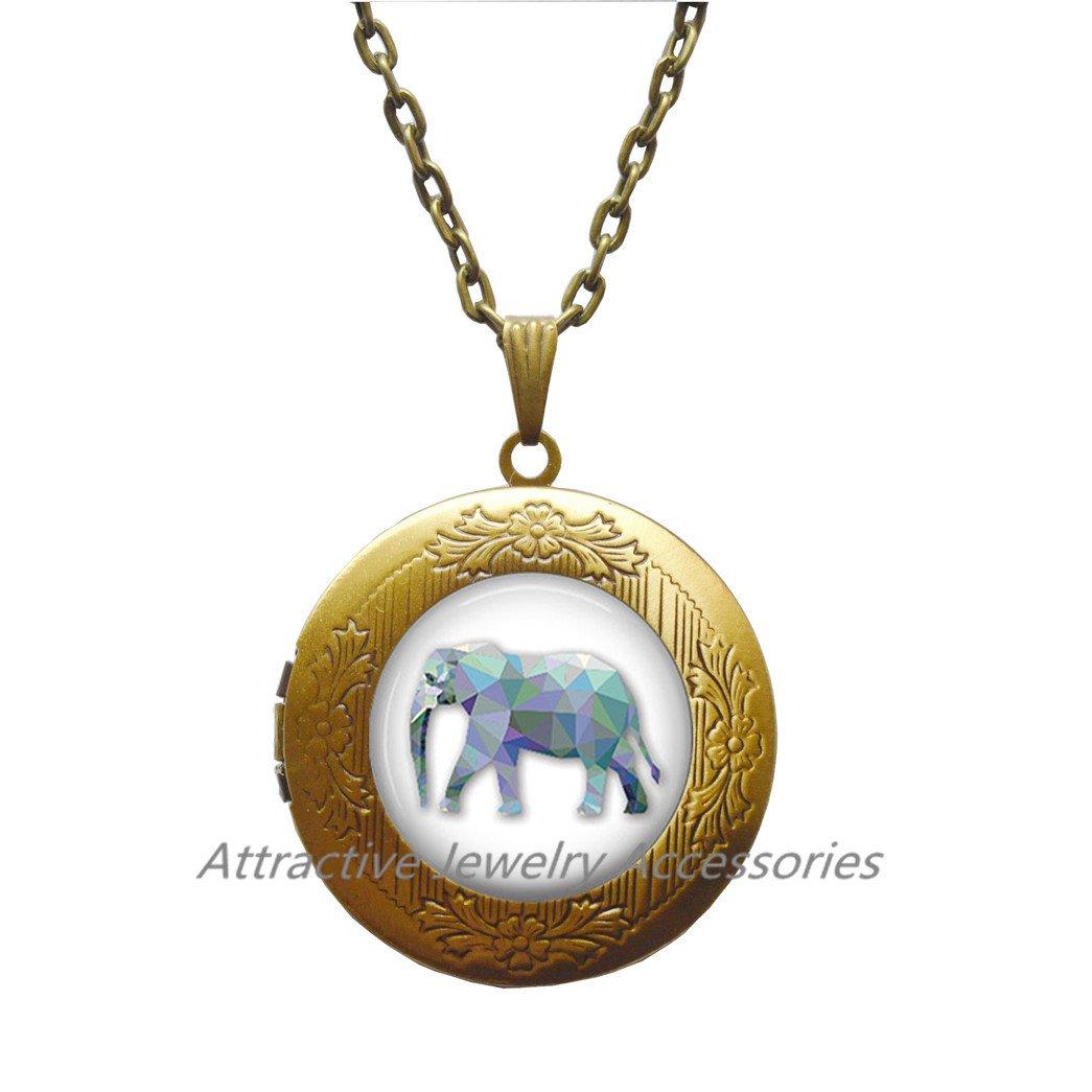Elephant Locket Necklace Lucky Elephant Jewelry Locket Necklace Wearable Art Locket Pendant Charm Elephant Locket Pendant Charm,QK190