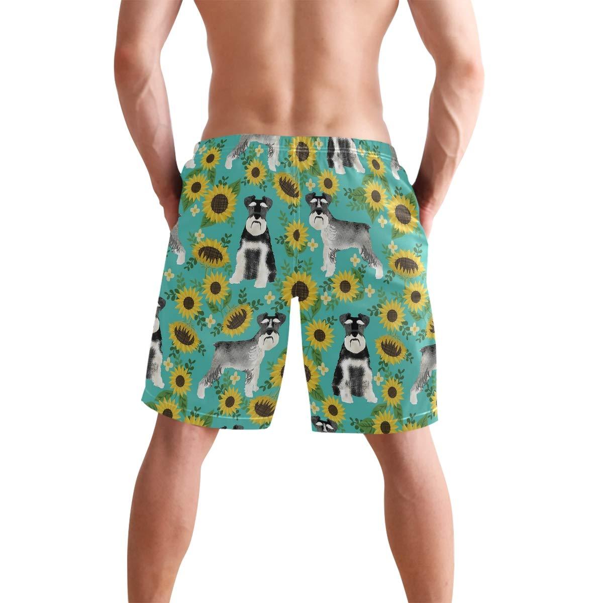 CBSwimTru Mens Fashion Summer Schnauzer Sunflower Beach Shorts Casual Short Pants