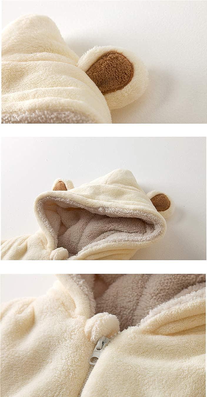 Mornyray Newborn Infant Baby Fleece Jumpsuit Hoodie Bear Romper Outerwear Winter