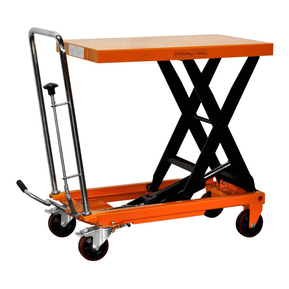 Bolton Tools New Hydraulic Foot Operated Scissor Lift Table Cart Hand Truck - 1100 LB of Capacity - 35.4'' Max Height - Model TF50