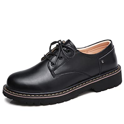 WF031heise35 Womens Lace Up Leather Oxford Work Shoes Round Toe Low Top  Casual Sneakers Black 5.5 82d8311337